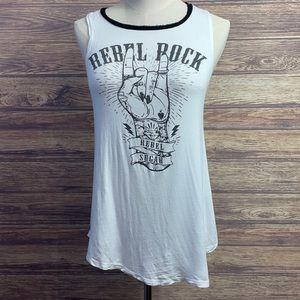 Rebel Sugar White Black Cotton Sleeveless Tank Top